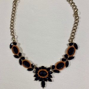 Statement necklace, silver and deep blue
